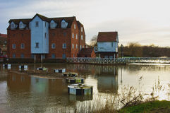 Mill on river Tewkesbury Royalty Free Stock Photo