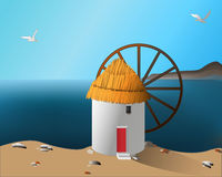 Mill on the sea shore royalty free illustration