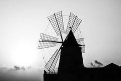 Mill silhouette in black and white Stock Images