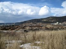 Mill site at winters end. The snow is gone and Spring will arrive stock photo