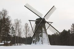 Mill in the snow Royalty Free Stock Photos