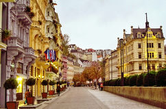 Mill street, Karlovy Vary, Czech Republic Royalty Free Stock Image