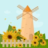 Mill in the summer Vector. Sunflowers provence style. S Stock Photography