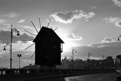 Mill sunrise black white Royalty Free Stock Photography