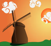 Mill and sunset. Vector image of the mill and sunset with clouds royalty free illustration