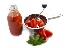 Mill with tomato and sauce bottle Royalty Free Stock Image