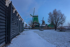 Mill. Traditional Dutch landscape early in the morning Royalty Free Stock Photos
