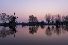 Mill and Trees at Woerdense Verlaat Royalty Free Stock Photography
