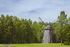 The mill, Vabaohumuuseumi kivikulv. TALLINN, ESTONIA - YUNI 15, 2015: The Windmill in Museum Estonian open air, Vabaohumuuseumi kivikulv, Rocca al Mare, Tallinn Stock Photos