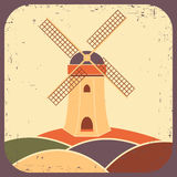 Mill. Vector illustration. In vintage style Royalty Free Stock Photography