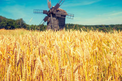 Mill on the wheat field Royalty Free Stock Photos