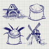 Mill, wheat and flour bag sketch Stock Images