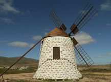 The mill with white plaster in Valles de Ortega Royalty Free Stock Photos