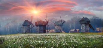 mill, wiatr drewna Zdjęcia Royalty Free