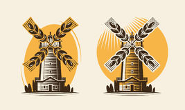Mill, windmill and ear wheat. Bakery, farm, agricultural industry logo or icon. Vector illustration Royalty Free Stock Photography