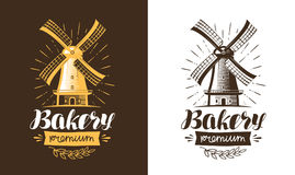 Mill, windmill logo or label. Bakery, bakehouse, bread icon. Lettering, calligraphy vector illustration Stock Photos