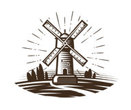 Mill, windmill logo or label. Farm, agriculture, bakery, bread icon. Vintage vector illustration Royalty Free Stock Image
