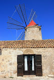 Mill Window On Blue Summer Sky, Sicily Stock Images