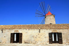 Mill Window On Blue Summer Sky, Sicily Stock Photos