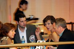 Milla Jovovich at Moscow restaurant Royalty Free Stock Photography