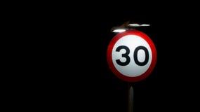 30 millas de señal de tráfico Fotos de archivo libres de regalías