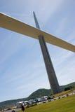 Millau bridge. Millau viaduct and a few tourist royalty free stock image