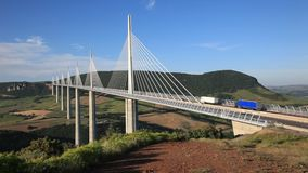 The Millau Viaduct in France stock video footage