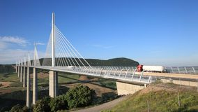 The Millau Viaduct in France stock footage