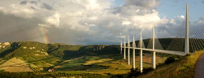 Millau Viaduct with rainbow Royalty Free Stock Photography
