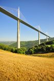 Millau viaduct, valley fields, France. The valley fields, below the impressive Millau viaduct, in southern France, conveying the A75 motorway stock images