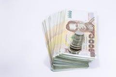Mille banconota e monete della Tailandia di baht Immagine Stock Libera da Diritti