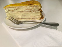Mille crepes. Layered caramel mille crepes Royalty Free Stock Image