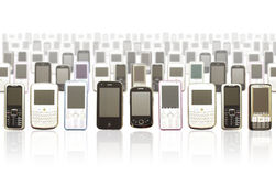 Mille di Smartphones Immagine Stock