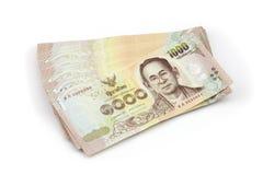 Mille factures de devise thaïlandaise, arrangent de mille factures Libérez l'année 2015 Photographie stock libre de droits