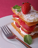 Mille feuille. Dessert, strawberry mille feuille and cream Stock Image