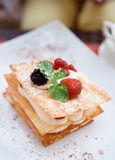 Mille-feuille cake with raspberries Stock Photo