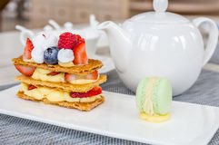 Mille Feuille, French Pastry Stock Photos