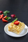 Mille-feuille puff pastry known as the Napoleon, vanilla  slice Royalty Free Stock Image