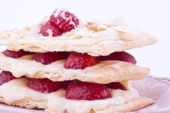 Mille feuille strawberries. On a plate Stock Photos
