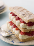 Mille Feuille of Strawberries with Chantilly royalty free stock images
