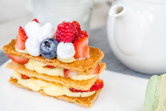 Mille Feuille with Tea Set Royalty Free Stock Photo