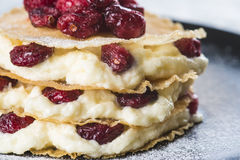Mille-feuilles with cream and cramberries. Mille-feuilles with custard cream and dried cramberries for dessert stock image