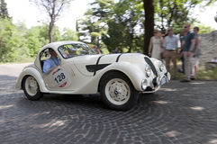 Mille Miglia,减速火箭的汽车的著名种族 库存照片