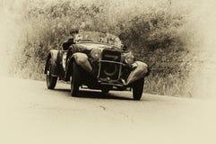 Mille miglia 2015年菲亚特514加州蜘蛛体育1931年 免版税库存照片