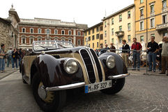 Mille Miglia. BRESCIA,ITALY - APR,14: a BMW at the puncing of Mille Miglia,the famous race for historic cars,April 14,2009 in Brescia,Italy Royalty Free Stock Image