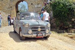 Mille Miglia Race, fiat 1100. The FIAT 1100/103 TV n. 314 built in 1957 driven by Ezio Ronzoni Royalty Free Stock Photo