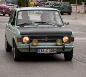 Mille miglia vintage car fiat 128 green and black Stock Photography