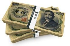 Mille paquets de Yens Image stock