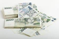 Mille tchèque des billets de banque 5 et 2 couronnes Image libre de droits