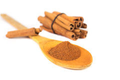 Milled cinnamon on wooden spoon Royalty Free Stock Photography